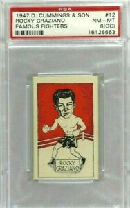 ROCKY GRAZIANO ROOKIE 1947 D. CUMMINGS & SON FAMOUS FIGHTERS #12 PSA 8 OC NM-MT