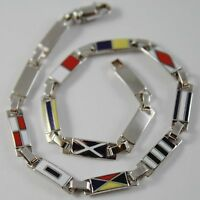 MASSIVE SOLID 18K WHITE GOLD BRACELET WITH GLAZED NAUTICAL FLAGS, MADE IN ITALY