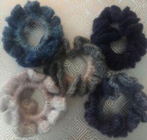5 Crocheted Hair Scrunchies Handmade Hair Accessories