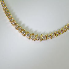 3.78CTW 14K Gold Gem Diamond Tennis Necklace Heirloom Jewelry Wedding Bridal
