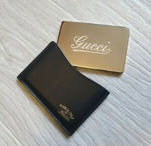 Auth Gucci Mirror With Black Leather Case Compact Pocket Credit Cards makeup