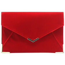 Wedding Women Lady Evening Suede Velvet Envelope Clutch Purse Party Handbag Bags