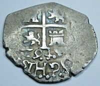 1694 Lima Peru Silver 1 Reales Antique 1600's Spanish Colonial Pirate Cob Coin