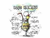 ART PRINT POSTER PAINTING DRAWING ALCOHOL COCKTAIL RECIPE BLUE HAWAII LFMP0926