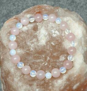 Rose Quartz and Opalite Moonstone Gemstone Bead Bracelet