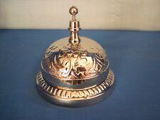 Hotel Clerk Desk Bell ~ Elaborate Bright Nickle Plated Solid Brass ~ Ornate