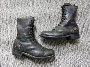 vintage HARLEY DAVIDSON combat boots 10 D brown leather MOTORCYCLE zipper