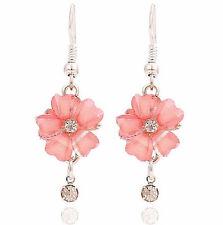 New Pretty 9K White Gold Filled Flower Shape Drop Dangle Earrings w/CZ Accents