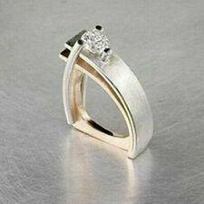 Creative Geometry Amethyst Emerald CZ Ring 925Silver Women Wedding Party Jewelry