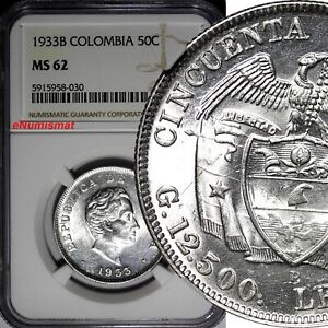 Colombia Silver 1933 B 50 Centavos NGC MS62 LAST YEAR FOR TYPE KM# 193.1 (030)
