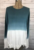 Outback Red Women's Long Sleeve Shirt Sweater Knit Ombre White To Teal Size M