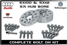 Complete Set Audi & Volkswagen 12 mm Thick Hub Wheel Spacers Extended Lug Bolts