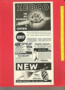 Vintage Original 1961 ZEBCO Model 33 Feathertouch Reel + MEPPS French Spinner Ad