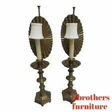 Pair Vintage Quality Brass Candle Reflector Table Lamps Chelsea House