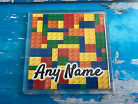 Personalised Coaster  - Drink Coaster - Add Name - Brick Design - Lego