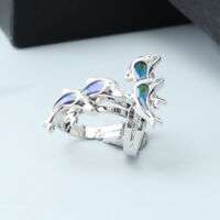 2pcs Dolphin Design alloy Silver Plated Colour Change Mood Adjustable Ring