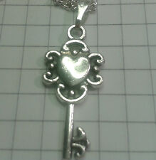 """TIBETAN SILVER CHARM""""HEART MED/KEY ON""""18/20""""LEATHER OR SILVER P/T NECKLACE+POUCH"""