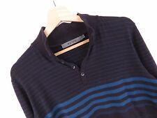 mh1173 Reiss coton pull original Premium col chemise à rayures taille M