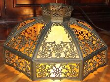 ANTIQUE~Bent Slag Glass Hanging Lamp Chandelier~Working condition!