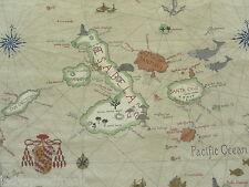 Sanderson Curtain Fabric GALAPAGOS 4.6m Parchment - Linen Blend Map Design 460cm