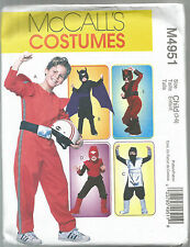 McCalls Sewing Pattern 4951, Action Hero Costumes, Child 7 - 14, New