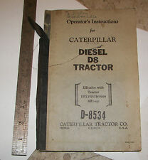 CAT CATERPILLAR DIESEL D8 TRACTOR BULLDOZER OPERATORS INSTRUCTION  BOOK