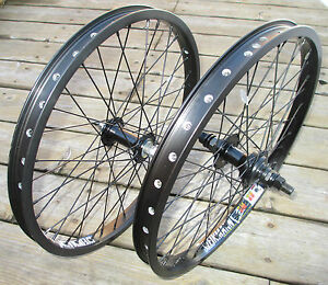 "Wheel Set 20"" BMX Park 3/8 Front 14mm 9T Rear Double Walled Rims New"
