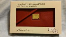 Kenneth Cole Leather Zip Around Wristlet Wallet NIB Red