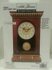SETH THOMAS HEIRLOOM COLLECTION MANTLE CABINET CLOCK W/ ORNATE PENDULUM-E NEW