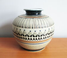 Thailand Pottery Urn Vase Hand Thrown Brown Black Blue Enamel on Tan Signed 6.5""