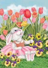 """Fm19 Bunny Rabbit Tulip Flowers Spring Easter Summer 12""""x18"""" Garden Flag Banner"""