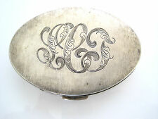 """Victorian Sterling Silver Oval Trinket Snuff Pill Box Mono """"LCJ"""" 51.8g Etched"""