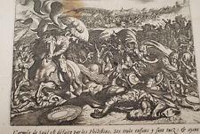 GRAVURE SUR CUIVRE DEFAITE DE SAUL PHILISTIN-BIBLE 1670 LEMAISTRE DE SACY  (B91)