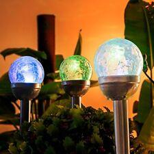 Solar Figurine Lights Outdoor, Cracked Glass Ball Dual Led Garden Lights, For