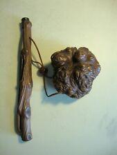 Japanese Meiji Antique Kiseru Smoking Tobacco Pipe with Burl Wood Pouch Folk Art