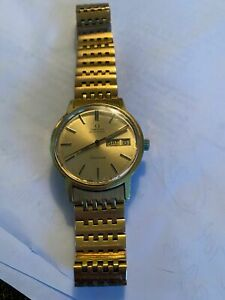 Vintage Omega Automatic Geneve Day and Date Gold Tone Watch MEN'S
