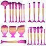 10Pcs Fishtail Mermaid Makeup Brushes Set Contour Blush Eyeshadow Brush Tool