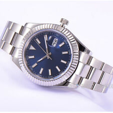 41mm Parnis Automatic Movement Blue Dial Men's Boys Watch Stainless Steel Strap