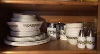 LOT VintageCorelle Green Spring Blossom Crazy Daisy Plates Bowls Teac S&C S&P