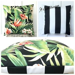 Indoor/ Outdoor Tropical Flowers / Black & White Stripes Cushion Cover 45cm