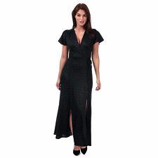 Womens French Connection Womens Kandi Polka Jacquard Wrap Maxi Dress in Black -