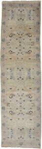 Beige Floral Oushak Hand-Knotted 3X10 Oriental Runner Rug Decor Hallway Carpet