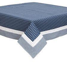 Azul Blanco Estrellas VICHY ENCAJE 100% Algodón 130 x 180cm – 130cmx178cm Mantel