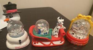 Vintage Lot Of 3 Disney Snow Globes 101 Dalmations