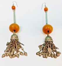 Antique Sterling Silver And Raw Amber Earings