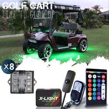 18-Color Led Under Glow Golf Cart Light Kit Neon W Brake + Music Mode & Switch