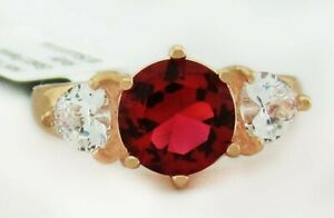 RUBY 3.70 Cts & WHITE SAPPHIRES RING 14K ROSE GOLDPLATED  ** New With Tag* **