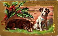 """c1909 Vintage Antique Christmas Postcard """"Dogs Series"""", Gilded, Holly A18"""