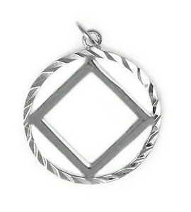 NA Narcotics Anonymous Jewelry,Symbol Pendant, #1074 Med. Size, Sterling Silver