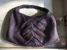 Eggplant Bottega Veneta Woven Leather Handbag